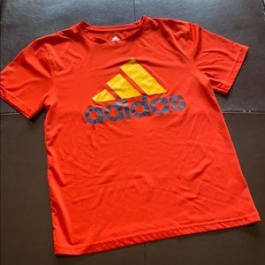 Adidas Orange and Yellow Logo Tee